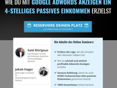 Said Shiripour kostenloses Webinar Google Adwords