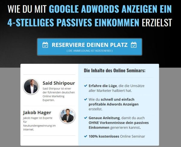 Said Shiripour kostenloses Webinar Google Adwords