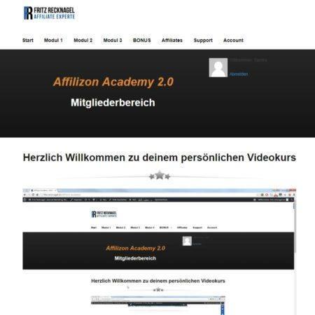 Affilizon Academy 2.0 unsere Erfahrungen - Einblick ins Dashboard