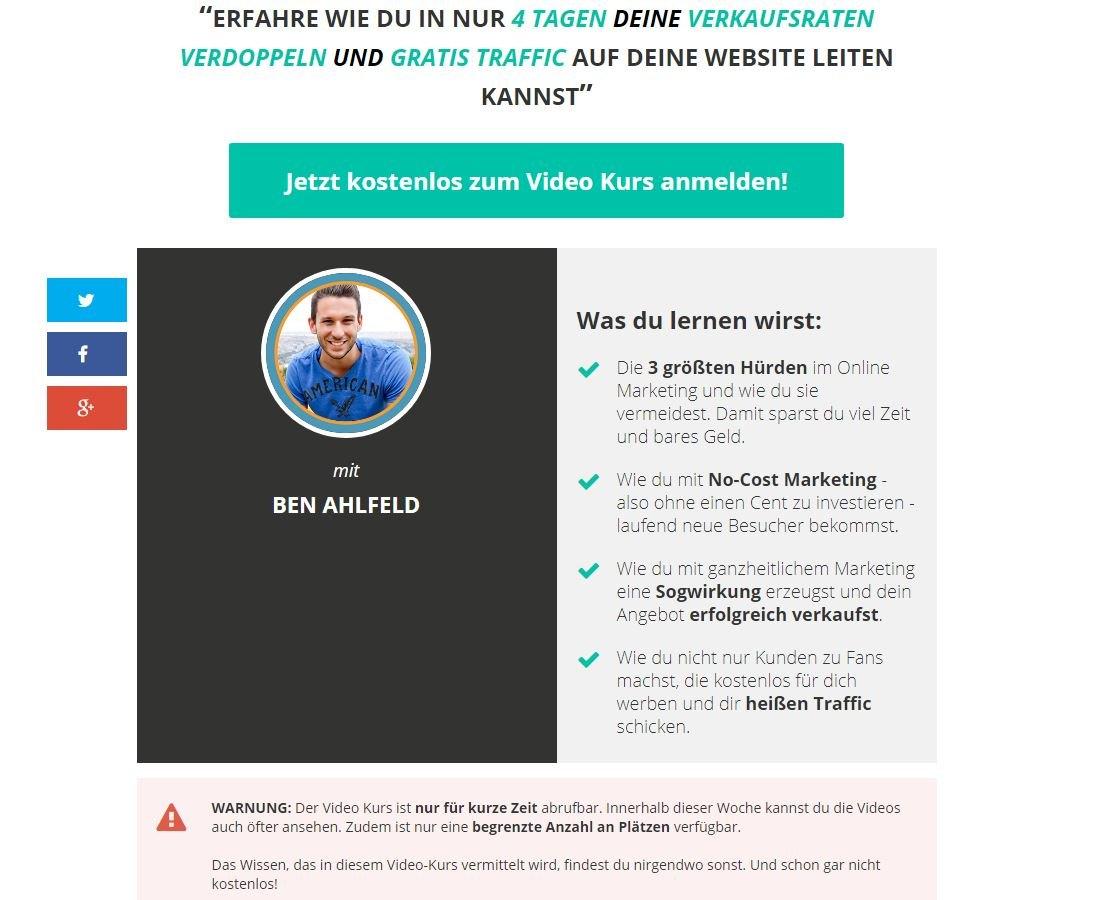 Ben Ahlfeld kostenlos Traffic generieren - kostenloses Webinar