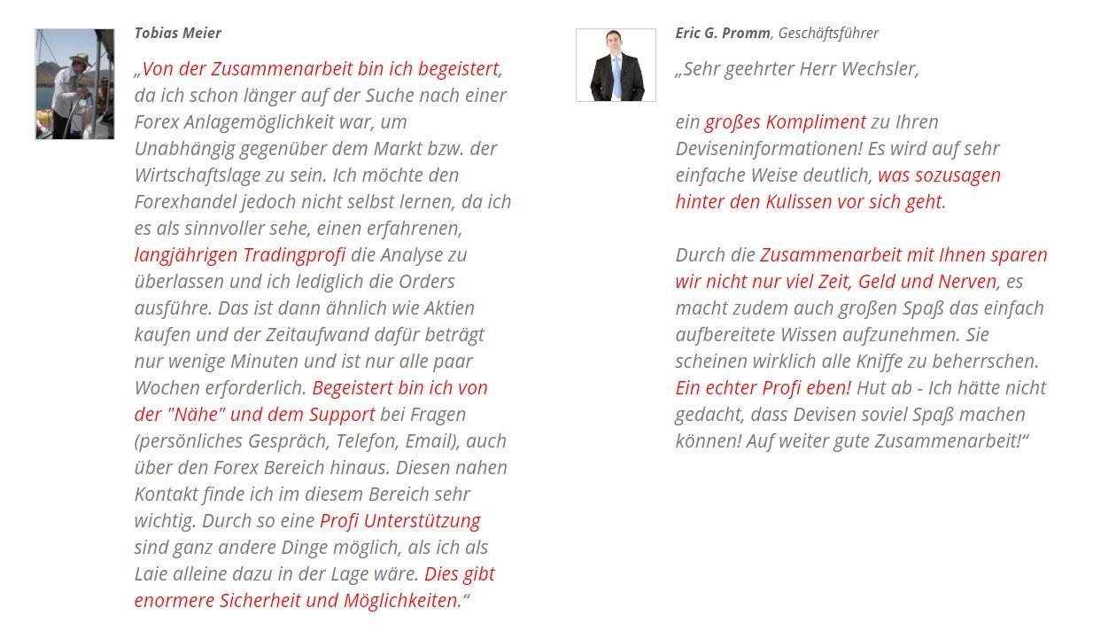 Forex Freiheits System von Jürgen Wechsler: Kundenmeinungen