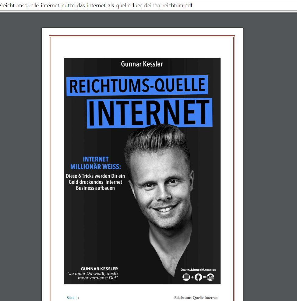 """Das Buch """"Reichtums-Quelle Internet"""" von Gunnar Keßler"""