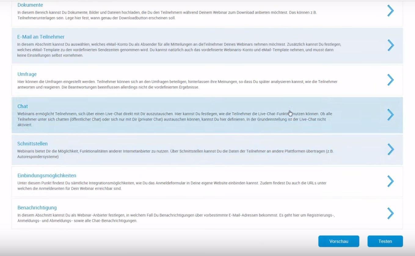 Einblick in WEBINARIS Einstellmöglichkeiten