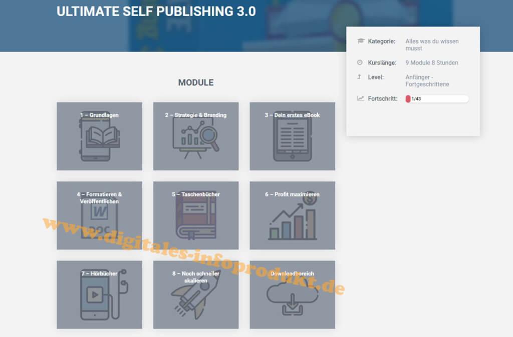 Einblick ins Dashboard ULTIMATE Self Publishing 3.0