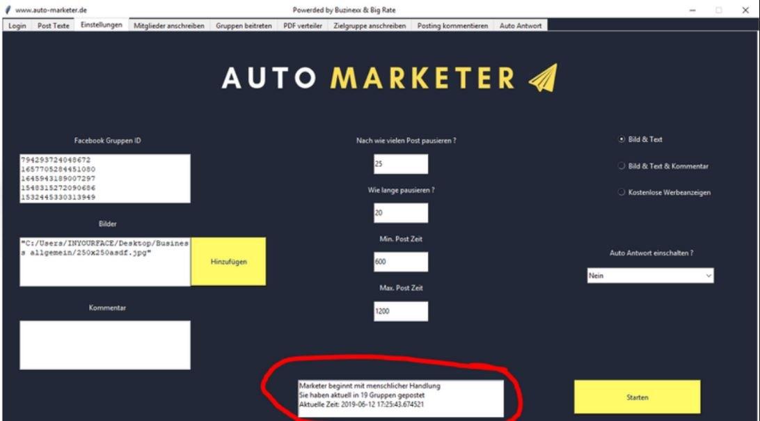 Für die Facebook-Strategie verwende ich den AutoMarketer.
