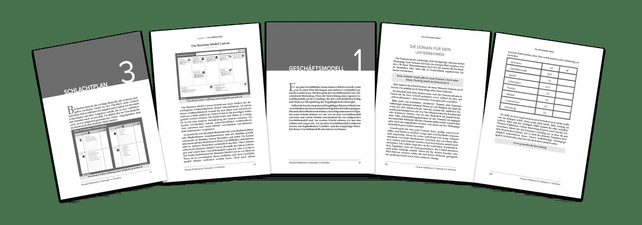 24 Stunden Startup Buch von Thomas Klußmann - Hier ist ein Einblick der Seiten.