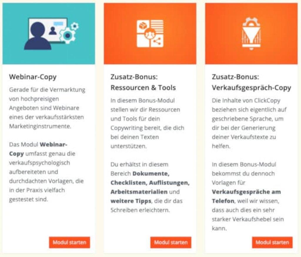 ClickCopy Erfahrungen -Die Module.