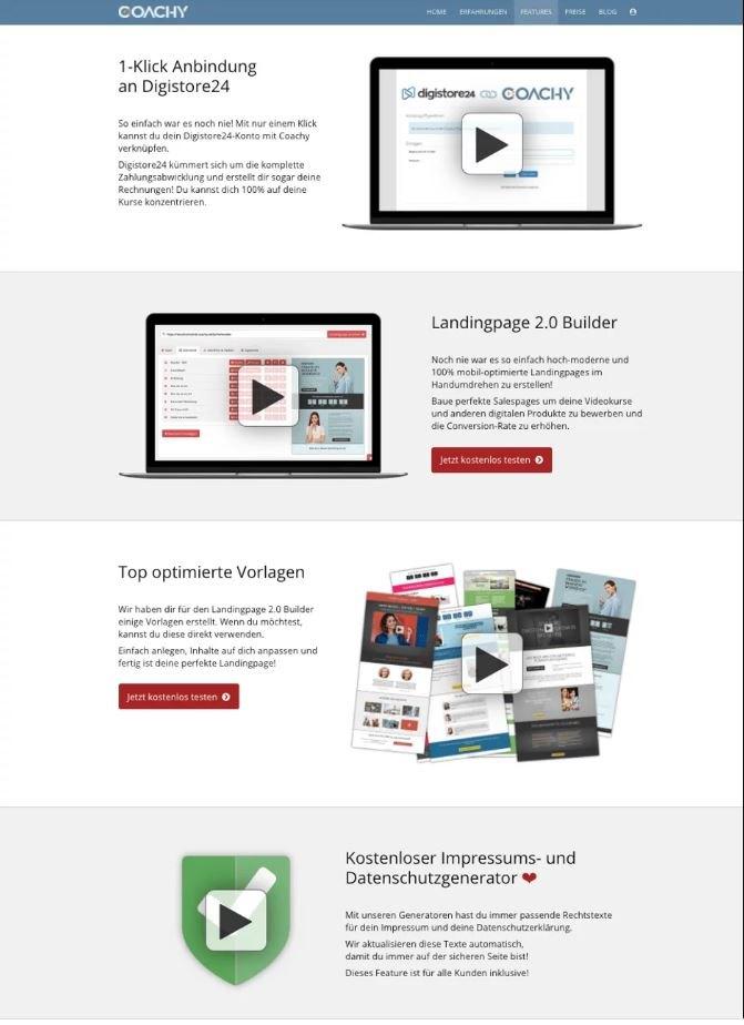 Einige Features der Plattform Coachy.