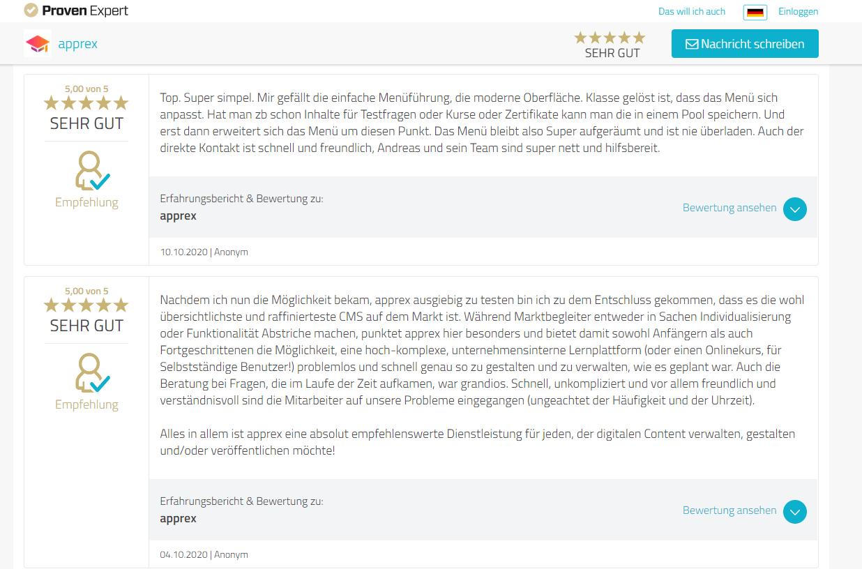 Proven Expert über apprex