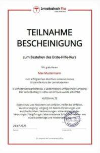 Dieses Zertifikat erhältst du am Ende des Lehrganges.