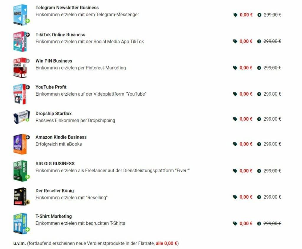 Inhalte der Online Business Superflatrate von Sven Meissner.