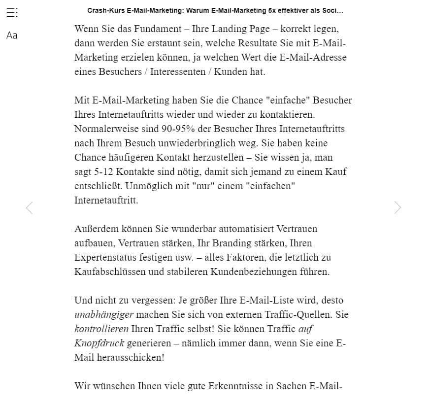 "Leseprobe zum eBook ""Crash-Kurs E-Mail-Marketing: Warum E-Mail-Marketing 5x effektiver als Social Media & Co. ist"""